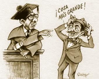 Caricatura del señor Juez y Trespatines